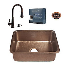 Renoir All-In-One Copper Undermount Kitchen Sink Design Kit with Ashfield Pull Down Faucet in Bronze