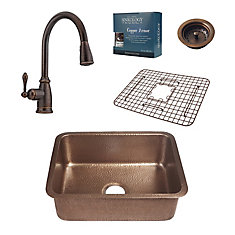 Renoir All-In-One Undermount Copper Kitchen Sink Kit with Pfister Pull Down Rustic Bronze Faucet