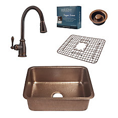 Renoir All-In-One Undermount Copper Kitchen Sink Kit with Pfister Bronze Faucet and Disposal Drain