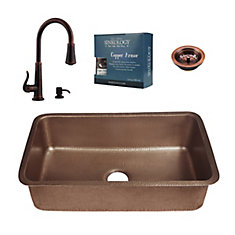 Orwell All-In-One Copper Undermount Kitchen Sink Kit with Ashfield Pull Down Faucet Bronze