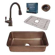 Orwell Undermount Copper Kitchen Sink Combo with Strainer Drain and Bronze Pull Down Faucet