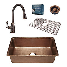 David All-In-One 31 1/4-inch Undermount Copper Kitchen Sink with Bronze Faucet and Disposal Drain