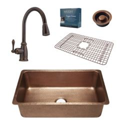 Sinkology David All-In-One 31 1/4-inch Undermount Copper Kitchen Sink with Bronze Faucet and Disposal Drain