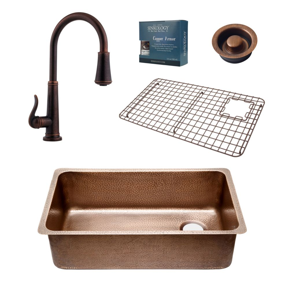Sinkology David All-In-One Chef Series 31 1/4-inch Copper Sink Combo with Ashfield Bronze Faucet and Drain