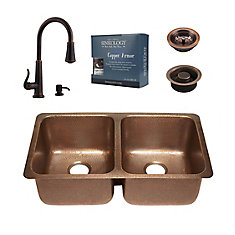 Rivera All-In-One Copper Undermount Kitchen Sink Kit with Ashfield Pull Down Faucet in Rustic Bronze