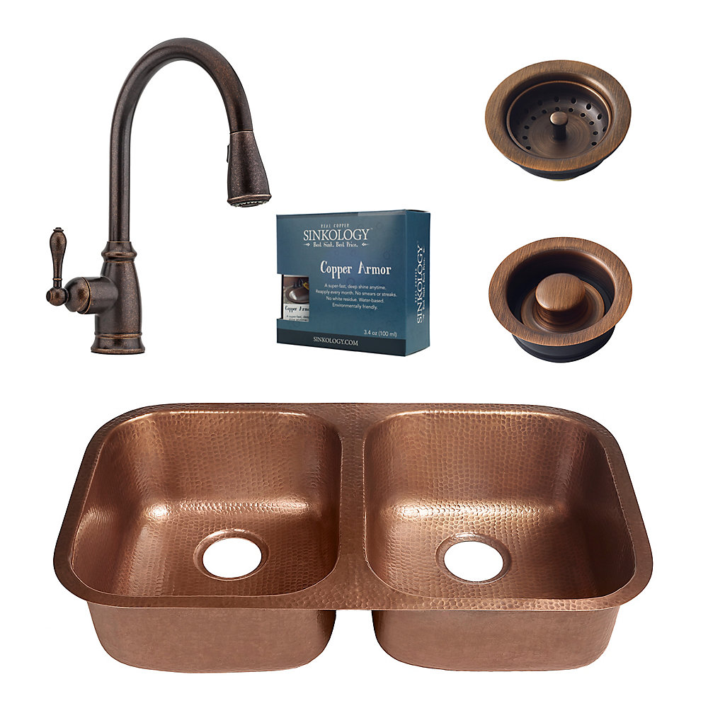 Enjoyable Kandinsky All In One Undermount Copper 32 1 4 Inch Kitchen Sink With Bronze Faucet And Drains Interior Design Ideas Gentotryabchikinfo