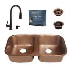 Sinkology Kandinsky All-In-One Copper Undermount Kitchen Sink Kit with Ashfield Pull Down Faucet in Bronze