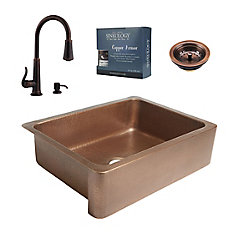 Courbet All-In-One Copper Farmhouse Kitchen Sink Kit with Ashfield Pull Down Faucet in Rustic Bronze
