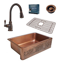 Ganku All-in-One Farmhouse Solid Copper 33-inch Kitchen Sink with Bronze Faucet and Disposal Drain