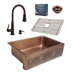 Sinkology Ganku All-In-One Copper Farmhouse Kitchen Sink Kit with Ashfield Pull Down Faucet in Rustic Bronze