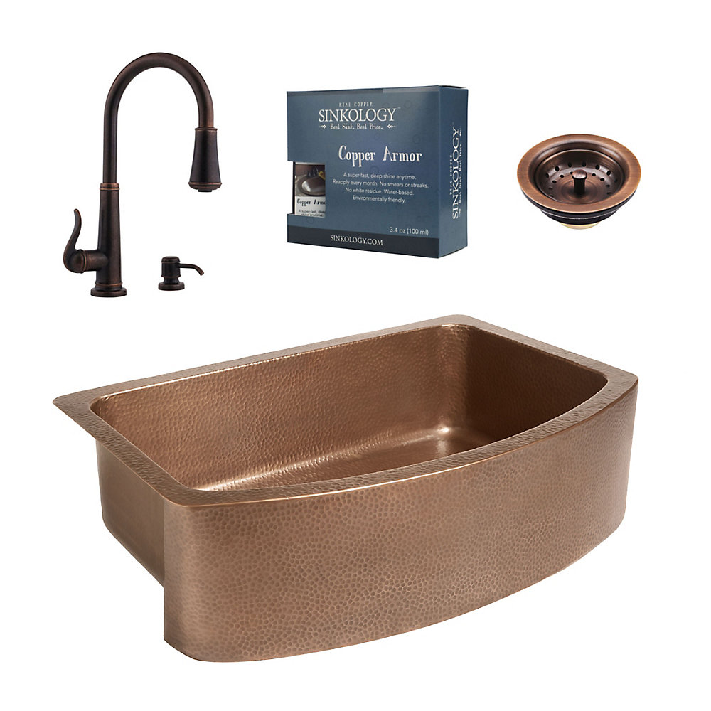 Phenomenal Ernst All In One Copper Farmhouse Kitchen Sink Kit With Ashfield Pull Down Faucet In Rustic Bronze Interior Design Ideas Gentotryabchikinfo