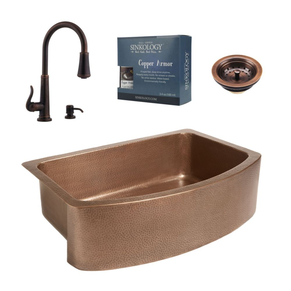 Sinkology Ernst All-In-One Copper Farmhouse Kitchen Sink Kit with Ashfield Pull Down Faucet in Rustic Bronze