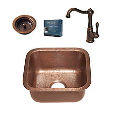 Sisley All-in-One Undermount 17-inch Copper Bar/Prep Sink with Bronze Faucet and Strainer Drain