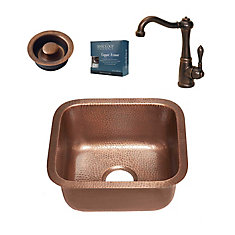 Sisley All-in-One Undermount 17-inch Copper Bar/Prep Sink with Bronze Faucet and Disposal Drain