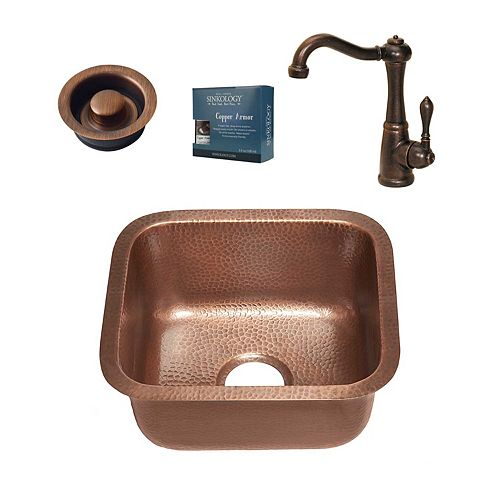 Sinkology Sisley All-in-One Undermount 17-inch Copper Bar/Prep Sink with Bronze Faucet and Disposal Drain