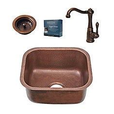 Sisley Chef Series Undermount Copper Prep Kitchen Sink with Faucet and Strainer Drain