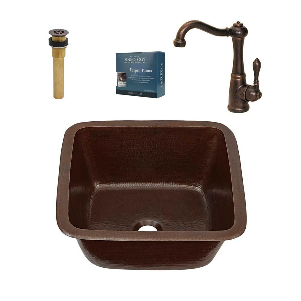 Sinkology Greco All-in-One Drop-In or Undermount 15-inch Solid Copper Bar/Prep Sink with Faucet and Drain