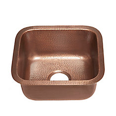 Sisley Undermount Handmade Copper Sink 17-inch Bar/Prep Sink in Antique Copper