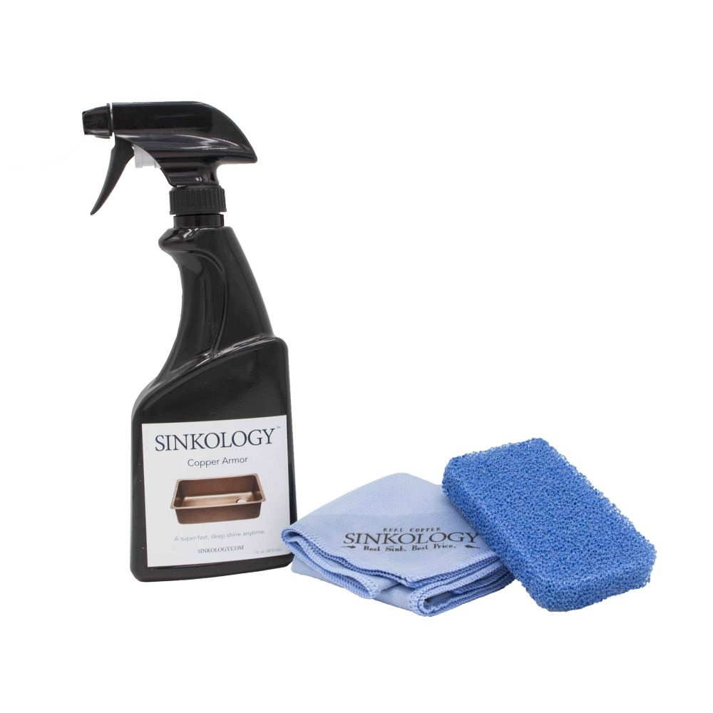 Deluxe Copper Armour Care Kit with 16 oz Wax Spary and 2 Microfibre Cloths and Non-Scratch Scrubber