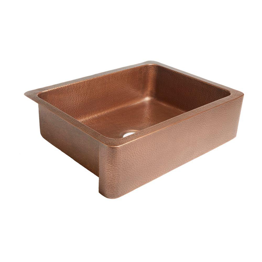 Courbet Farmhouse Apron Front Handmade Copper 30-inch Single Bowl Kitchen Sink in Antique Copper