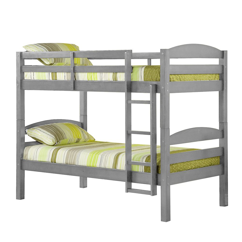 Walker Edison Solid Wood Twin over Twin Bunk Bed - Grey