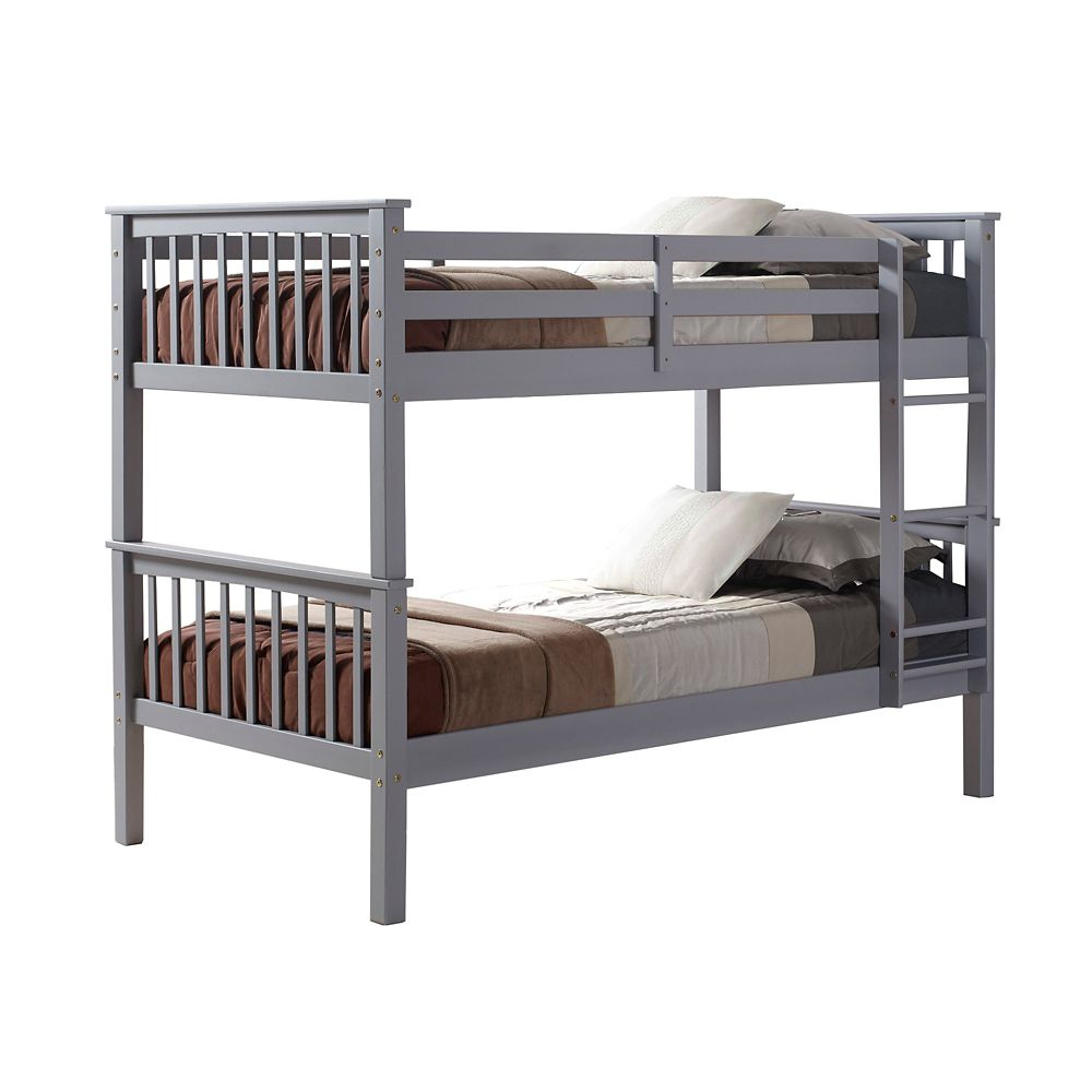 Walker Edison Twin over Twin Solid Wood Mission Design Bunk Bed - Grey