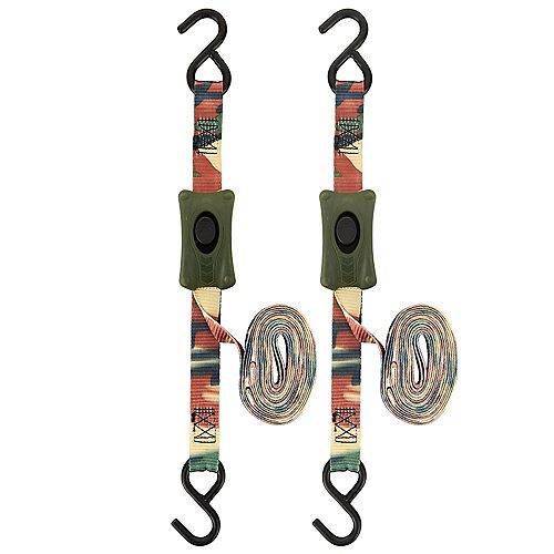 KEEPER Tie-Down 1 inchx 10 ft. CamBuckle, 400 LBS Working Load Limit, Woodland Camo 2 PK