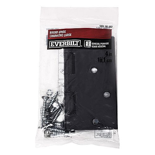 Everbilt 4-inch Broad Hinge in Black - 1pk