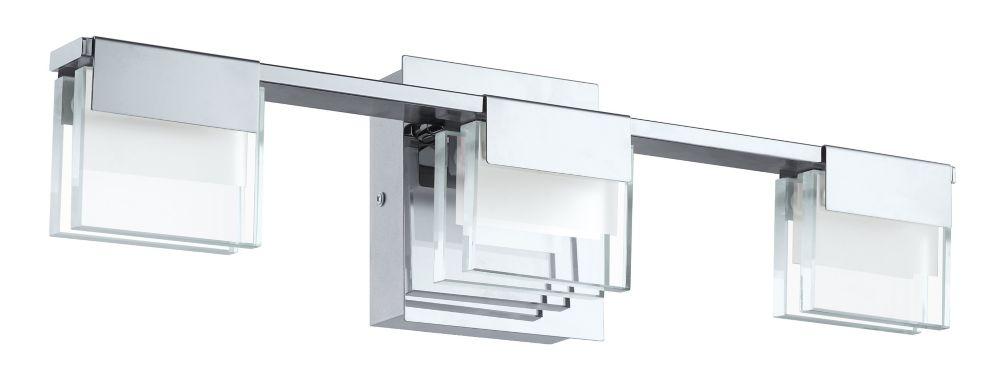 Clear Cloche Glass Bath Light 3 Light: Eglo Canada Vicino 3-Light Integrated LED Chrome Vanity