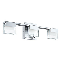 Eglo Canada Vicino 3-Light Integrated LED Chrome Vanity Light Fixture with Clear & Satin Glass