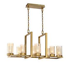 8 Light Linear Chandelier, Gold