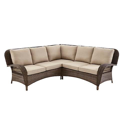 Beacon Park Wicker Outdoor 3-Piece Sectional Set -Toffee Cushions