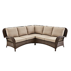 Beacon Park Wicker Outdoor 3-Piece Sectional Set with Toffee Cushions