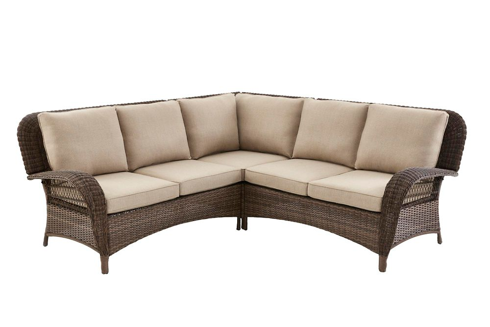 Hampton Bay Beacon Park Wicker Outdoor 3-Piece Sectional Set -Toffee Cushions