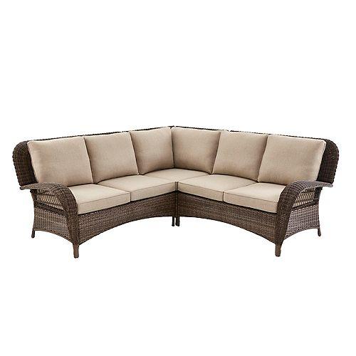 Hampton Bay Beacon Park 3-Piece Brown Wicker Outdoor Patio Sectional Sofa with Standard Toffee Trellis Tan Cushions