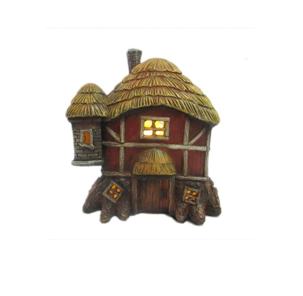 Hi-Line Gift Fairy Garden Thatched Roof Red Barn with LED Lights