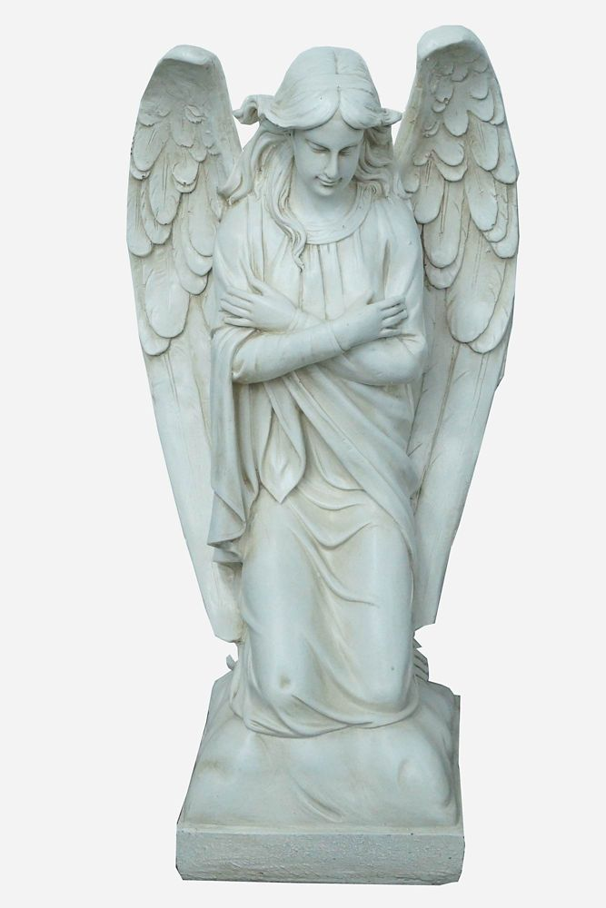 Hi-Line Gift Angel Kneeling Statue, Polished Stone Finish
