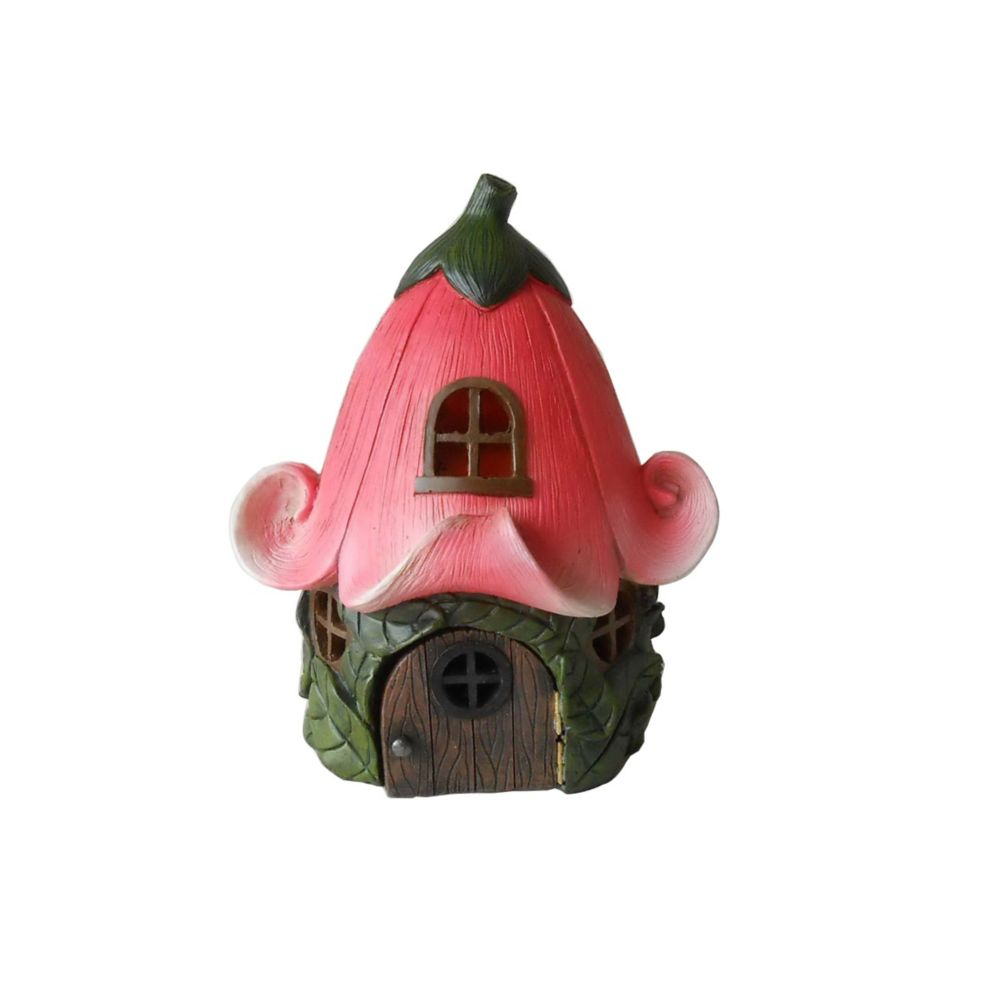 Hi-Line Gift Fairy Garden House with Pink Lily Flower Roof Statue