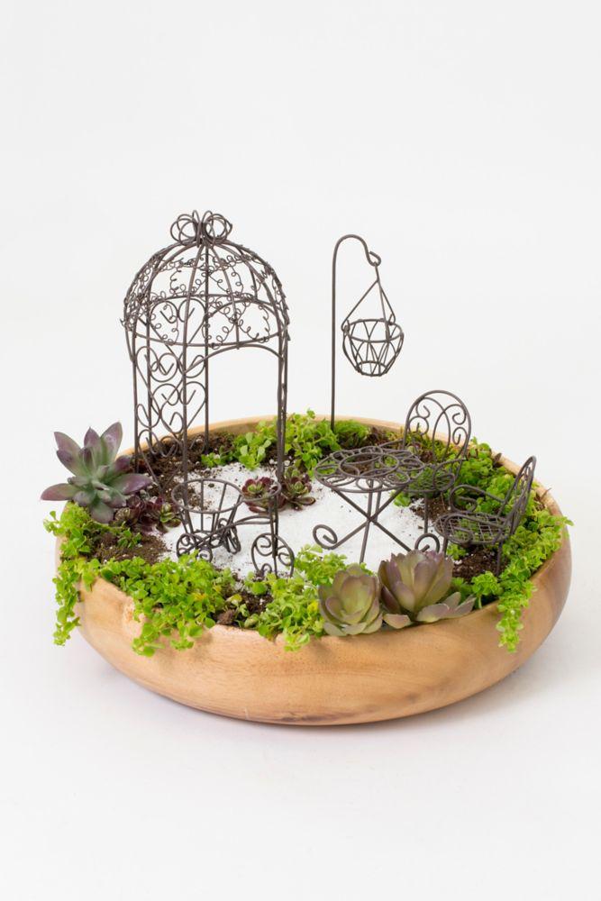 Hi-Line Gift Fairy 6PCS Garden Furniture Set, Rust Brown