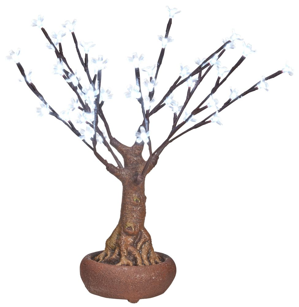 Hi-Line Gift 48 LED Lights White Floral Bonsai Tree