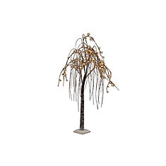 66 Warm White LED Lights Brown Willow Tree with Snow