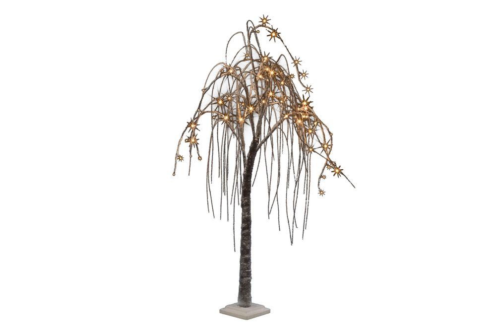 Hi-Line Gift 66 Warm White LED Lights Brown Willow Tree with Snow