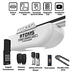 1/2 HPF Garage Door Opener Chain Drive with Built-In LED, Remote Control & Keypad