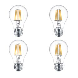 Philips 40W Equivalent Clear Glass Soft White WarmGlow (2700-2200K) A19 LED Light Bulb (4-Pack)