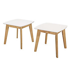 Retro Modern End Table, (Set of 2) - White/Natural