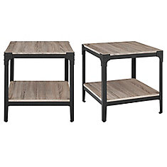 Angle Iron Rustic Wood End Table, (Set of 2) - Driftwood