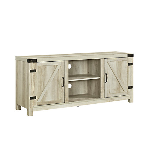 Farmhouse Barn Door TV Stand for TV's up to 64 inch - White Oak