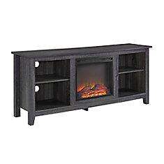 Console-meuble TV en bois Charbon avec cheminée de 147cm (58po)
