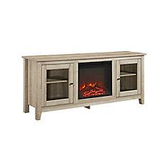 Console pour médias et TV en bois de chêne blanc de 178cm (58po) avec cheminée