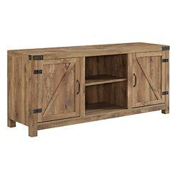Walker Edison Meuble TV - Cheminée porte de grange en bois rustique de 178cm (58po)